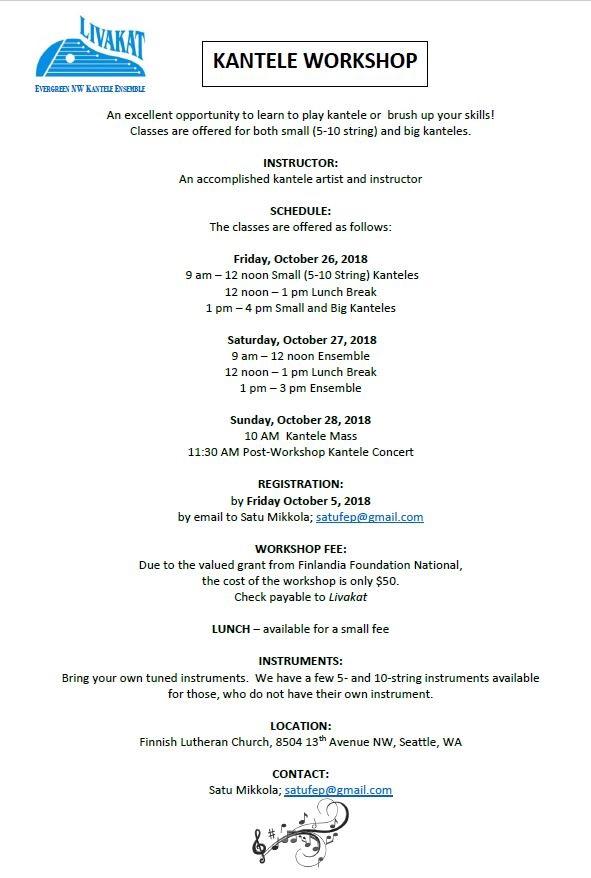 Kantele workshop with The Evergreen Livakat Kantele Group @ Finnish Lutheran Church   Seattle   Washington   United States