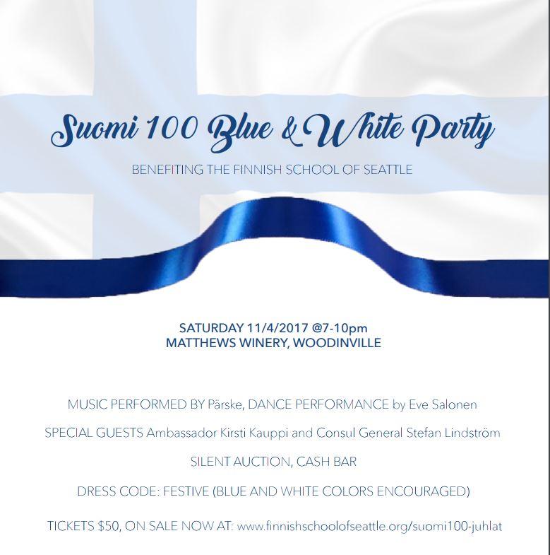 Suomi 100 Blue and White Party @ Matthews Winery, Woodinville | Woodinville | Washington | United States